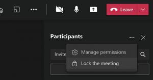 microsoft teams lock meeting